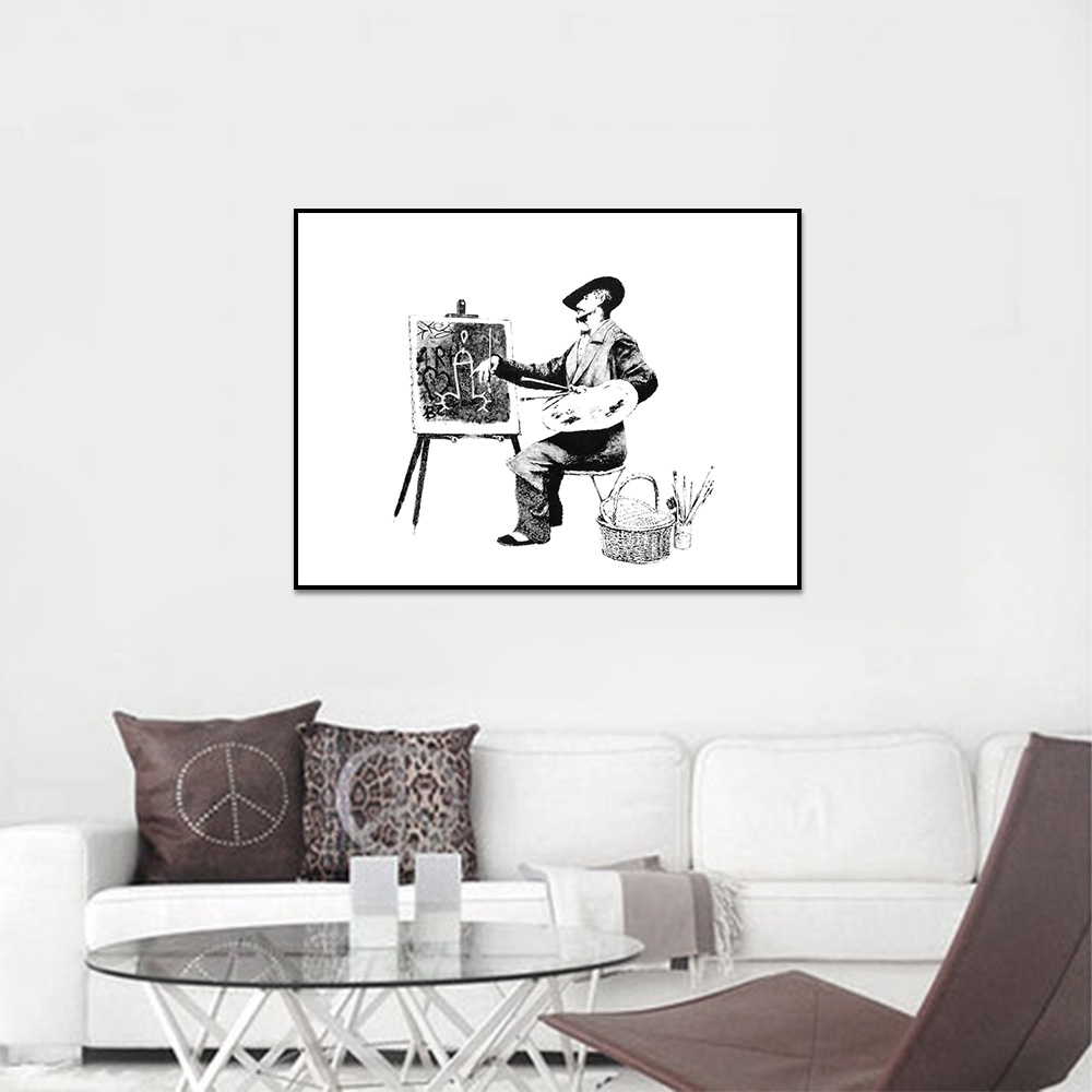 Unframed Canvas Prints Irony Banksy People Painting Prints Wall Pictures For Living Room Wall Art Decoration Drop Shipping