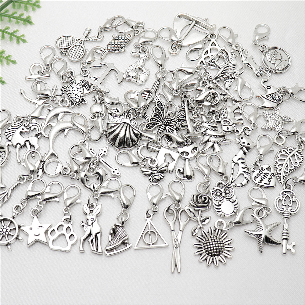 Mix Lobster Clasp Pendant With Floating Charm Fit Pandora Charms Diy Bracelets Jewelry Making 50pcs/lot