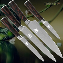 Kitchen knives chef slicing knife 8 inch utility knife 5inch pariing knife 3.5 inch damascus veins stainless steel cooking tools
