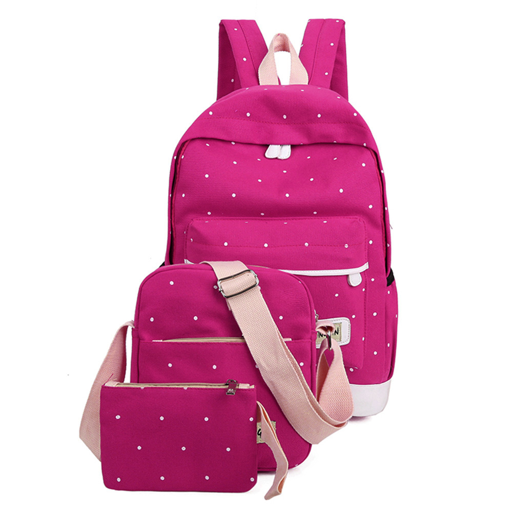 3PCS/Set Fashion Student Book Canvas  Bag High Quality Teenager Backpack Bag  Ladies Girl School Bag With Purse Laptop