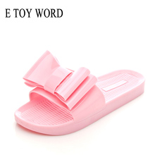 E TOY WORD Fashion big butterfly slippers Jelly Shoes Flip Flops Summer Shoes thick bottom high elastic PVC Beach Shoes Women цена 2017