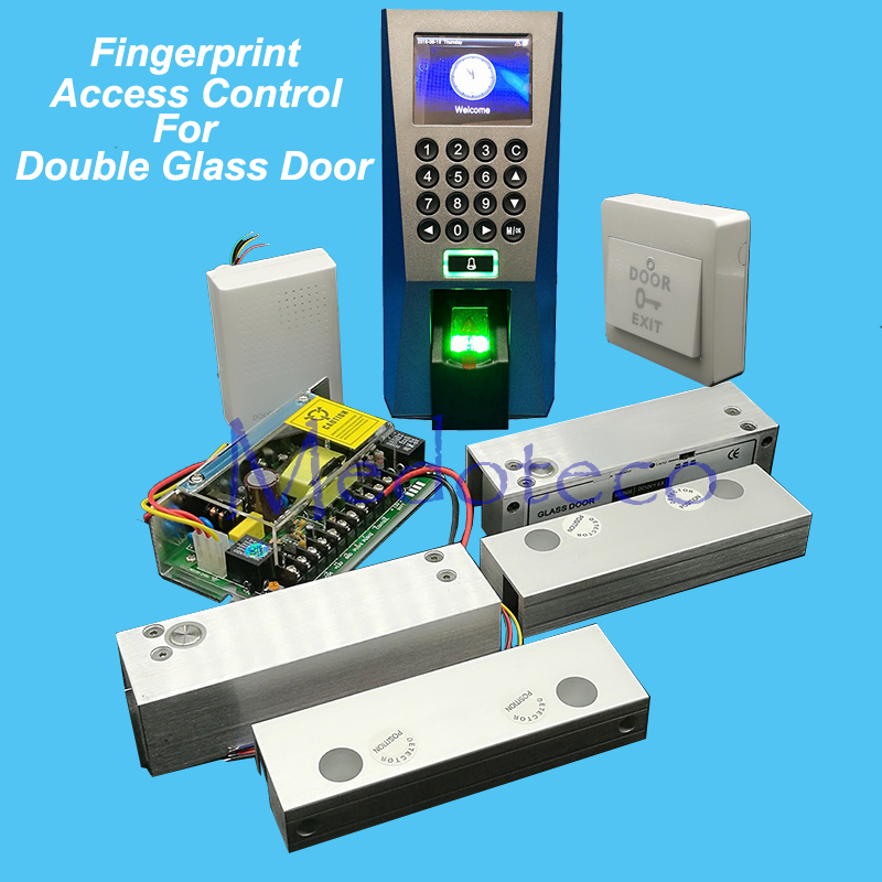 Full F18 Fingerprint Access Control System Kit Double Frameless Glass Door Access Control Set+Power Supply+Eletric Bolt Lock raykube glass door access control kit electric bolt lock touch metal rfid reader access control keypad frameless glass door