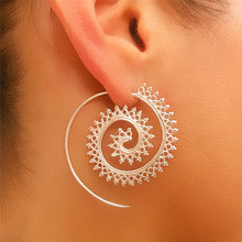 Boho Large Swirl Hoop Earrings For Women Ethnic Totem Koru Wire Jewelry Geometric Statement