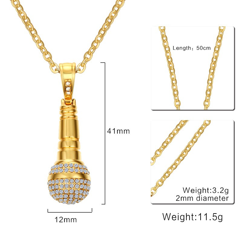 Image 3 - Modyle Gold color Stainless Steel CZ Stone Hip Hop Microphone Necklace & Pendant for Men/Women-in Chain Necklaces from Jewelry & Accessories