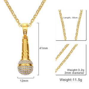 Image 3 - Modyle Gold color Stainless Steel CZ Stone Hip Hop Microphone Necklace & Pendant for Men/Women