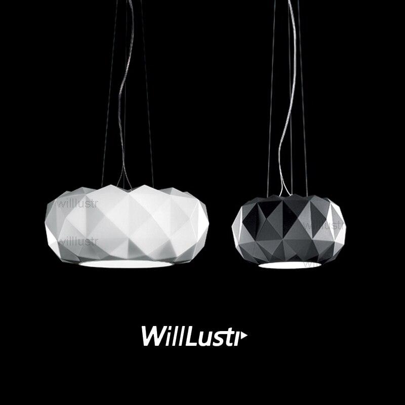 Willlustr Murano due Muranodue réplique leucos deluxe pendentif lampe blanc noir verre diamant éclairage hôtel suspension lumière