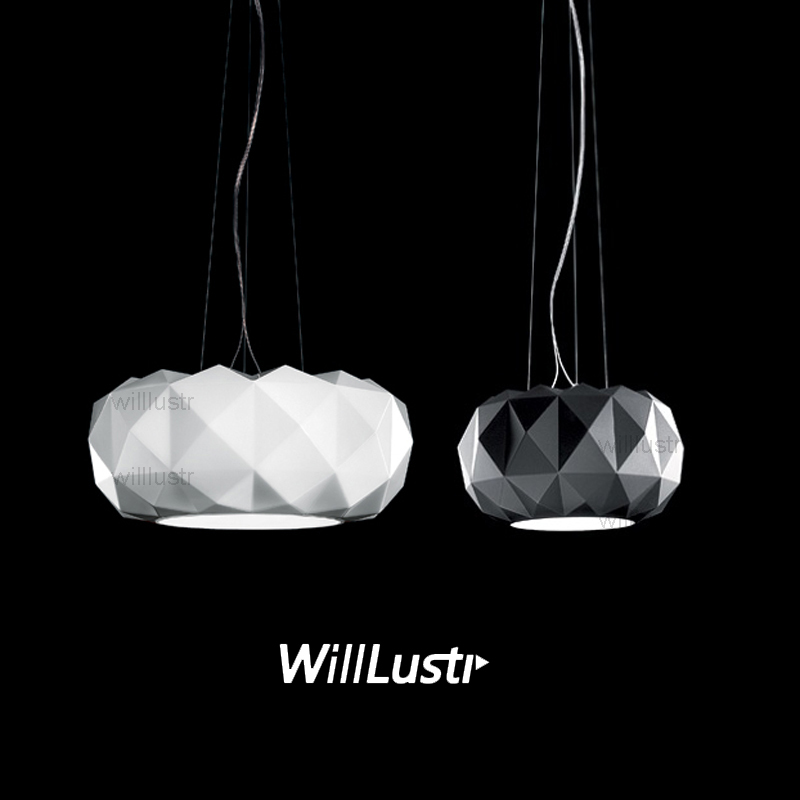 Willlustr Murano due Muranodue replica leucos deluxe pendant lamp white black glass diamond lighting hotel suspension light tentazione due a3252 nero