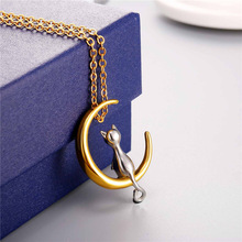 Cat Lover Necklace – Cute Cat Standing On Crescent Moon