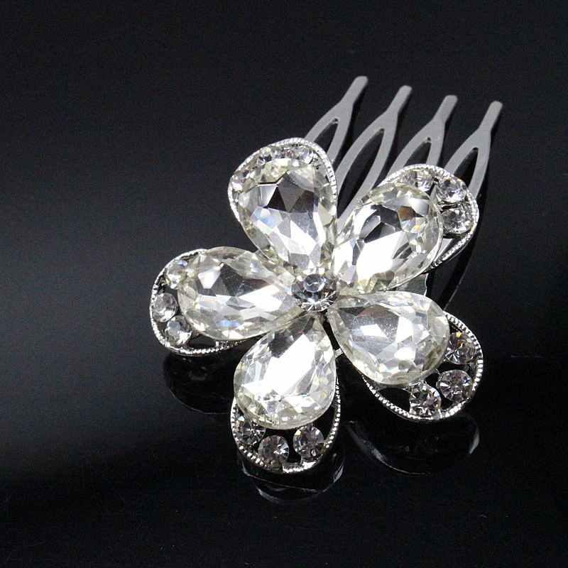 1pc Flower Clip Hair Comb Brides Gold Silver Hair Pin Butterfly Rhinestone Wedding Accessories bijoux cheveux