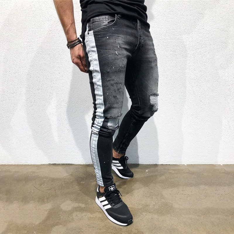 Jeans Destroyed Pants Elastic-Waist Ripped Skinny Stretchy Men's Casual Fashion Denim