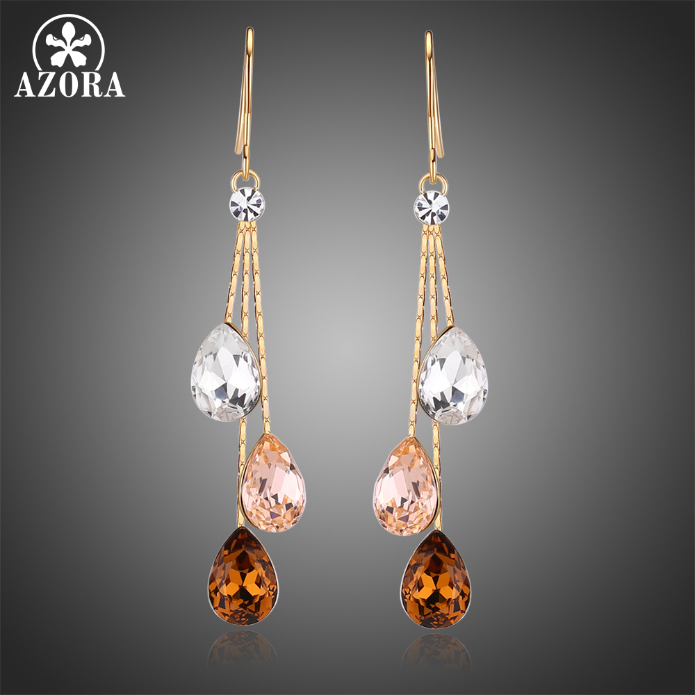 AZORA Korean Three Water Drop Dangle Earrings Multicolor Austrian Crystals Luxury Wedding Earing for Brides TE0348 three button design drop earrings