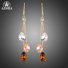 AZORA Korean Three Water Drop Dangle Earrings Multicolor Austrian Crystals Luxury Wedding Earing for Brides TE0348(China)