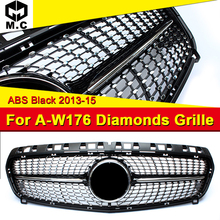 Fits For MercedesMB W176 Diamond grille grill Sport A45AMG look A-Class A180 A200 A250 A260 Front bumper ABS Black 13-15