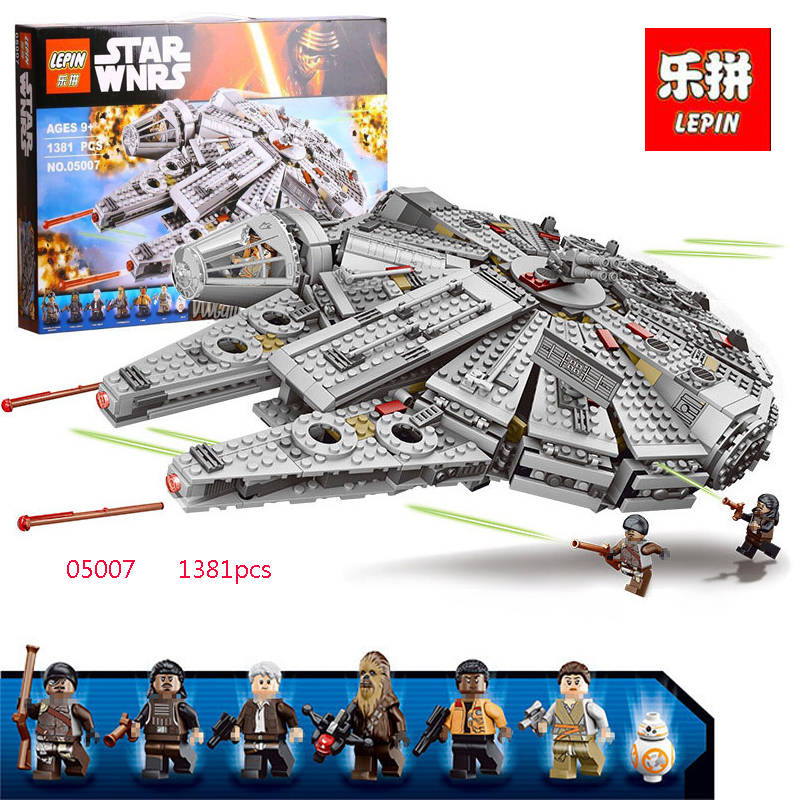 1381pcs 05007 Star Wars Model Building Blocks Millennium Falcon Figure Compatible LegoINGLYS Technic Toys for Kids 10467 игровой набор mattel star wars tie fighter vs millennium falcon 2 предмета cgw90