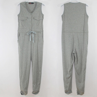 Osaili Summer Women Sleeveless Short Black Grey Cotton Fashion Solid Playsuits Overalls Jumpsuit Rompers For Woman