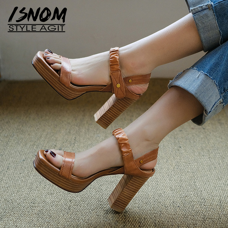 Isnom 우드 하이힐 샌들 여성 여름 플랫폼 샌들 양모 파티 신발 여성 레트로 pleated 리벳 신발 숙녀 2019-에서하이힐부터 신발 의  그룹 1