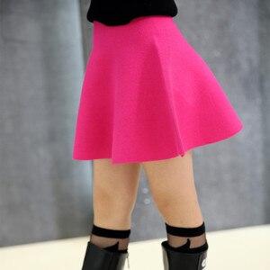 Корейская детская юбка, весенне-осенняя однотонная трикотажная юбка для девочек, 2018
