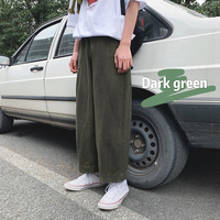 2019 Summer Men's Fashion Trend Wide Leg Pants Male Leisure Loose Casual Pants Cotton Green/Beige Color Trousers Plus Size S XL