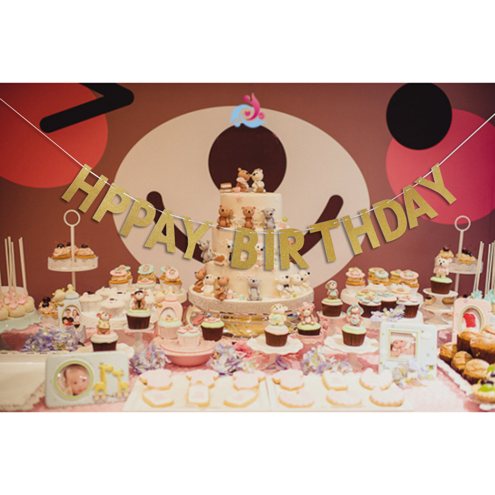 Feliz cumpleaños Banner Chic Glitter Decoraciones para fiestas de - Para fiestas y celebraciones - foto 5