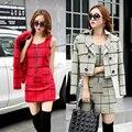 Aliexpress frete grátis 2016 Outono inverno mulheres OL xadrez mostrar fina vest vestido de duas peças define manga longa jaqueta curta + vestido