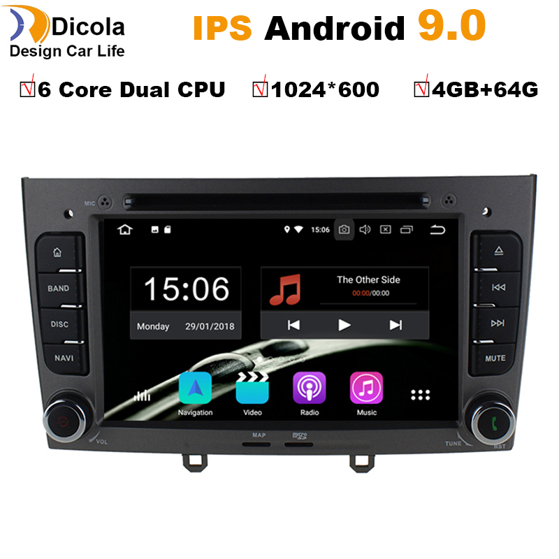 4G+64G Android 9.0 Car dvd multimedia player radio stereo for <font><b>Peugeot</b></font> 408/<font><b>Peugeot</b></font> <font><b>308</b></font> with <font><b>GPS</b></font> Navi BT canbus SD USB 1080P RDS image