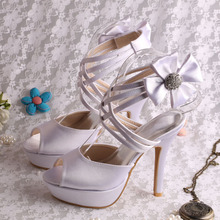 faa087779e87b3 Platform High Heels Sandals Wedding Off white Satin Summer Bridesmaid Shoes  Sandals(China)