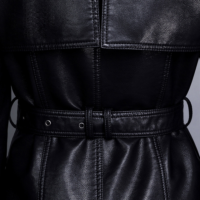 Fashion single breasted turn down collar medium-long PU leather trench coat women slim waist faux leather jacket with belt 2