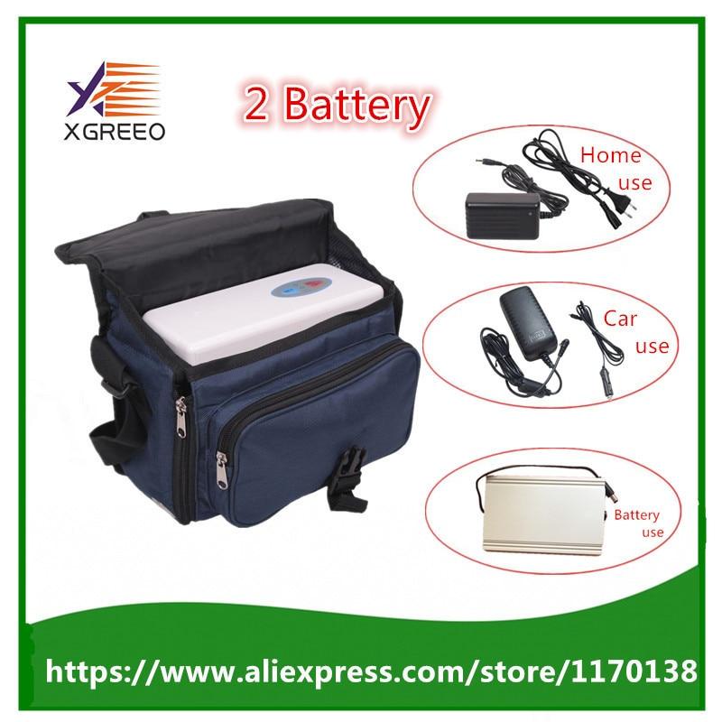 XGREEO 2 Batterie Salute e Bellezza Uso Dell'automobile Portatile Mini Generatore di Concentratore di Ossigeno con Batteria e Borsa per il trasporto A Casa Purificatore D'aria