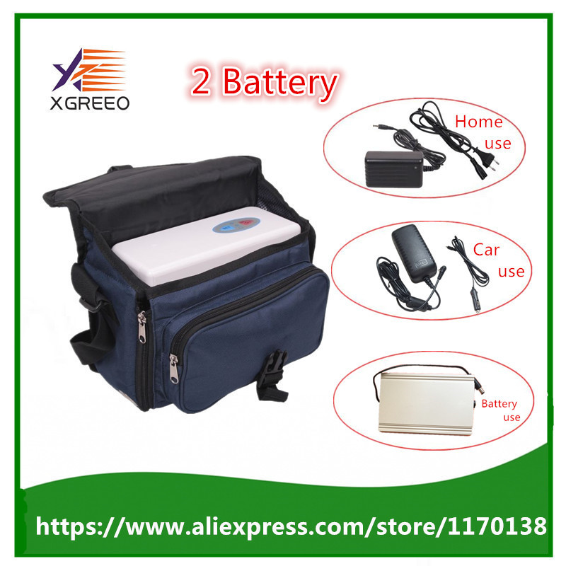 XGREEO 2 Batteries Health Care Car Use Portable Mini Oxygen Concentrator Generator with Battery and Carry