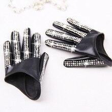 Frauen mode halb palm Handschuhe dame rot weiß schwarz PU leder handschuhe männer hip hop strass diy tanzen handschuhe