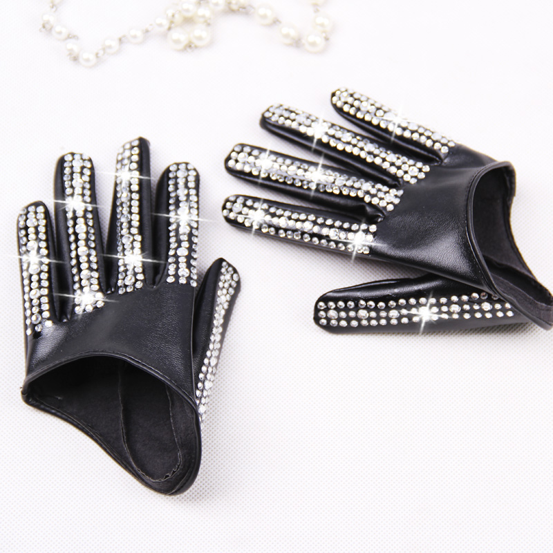 Women's Fashion Half Palm Gloves Lady's Red White Black PU Leather Gloves Men's Hip-hop Rhinestone Diy Dancing Gloves