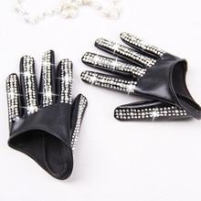 Womens fashion half palm Gloves ladys red white black PU leather gloves mens hip hop rhinestone diy dancing gloves