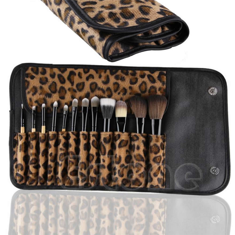 12 Pcs/set Professional Makeup Brush Set Foundation  Cosmetic Brushes Make Up Tool Kit  With Leopard Bag professional bullet style cosmetic make up foundation soft brush golden white