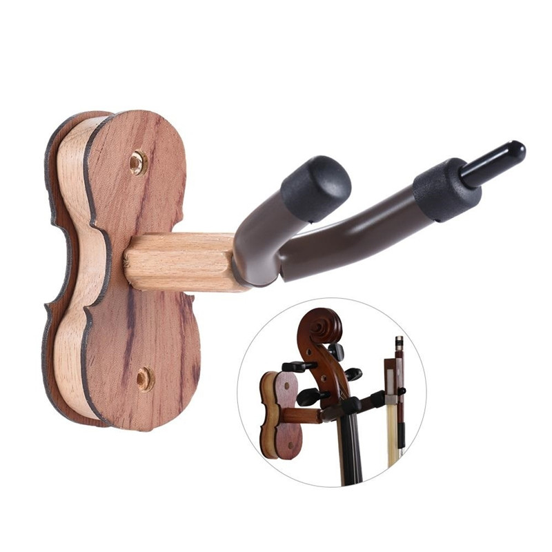 Hardwood Violin Hanger Hook With Bow Holder For Home & Studio Wall Mount Use Burlywood Color