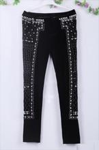zipper style/women Manual beading Velvet Pants/beading catwalk trousers/balman beaded women stars pants/wholesale balman jacket