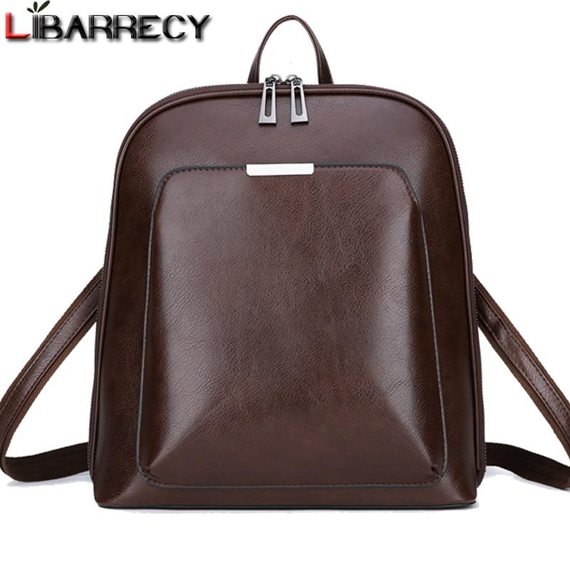 Mochila Vintage de cuero de marca femenina mochila de mujer de gran capacidad bolso escolar para niñas ocio bolsos de hombro para mujeres 2018