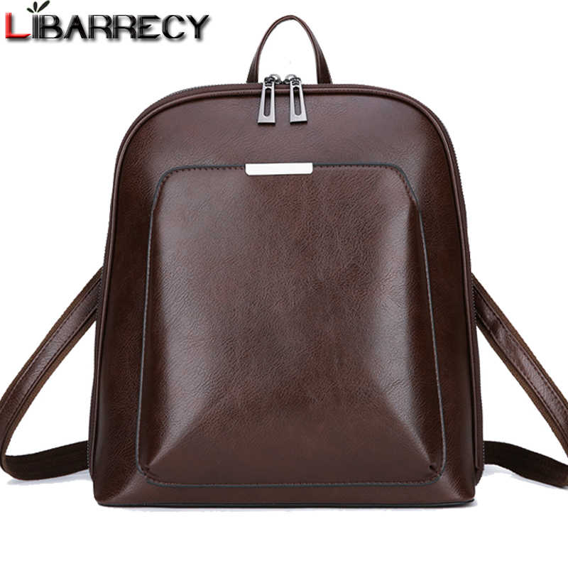 d79751fd633e5 Vintage Sırt Çantası Kadın Marka Deri kadın sırt çantası Büyük Kapasiteli okul  çantası Kızlar için Eğlence
