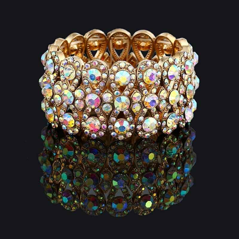 Us 5 94 15 Off Wedding Jewelry Luxury Full Crystal Rhinestones Gold Color Bracelets For Women Bride Stretch Rope Wide Bracelet Bangles In