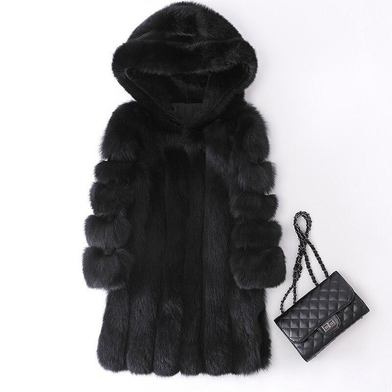 gray Jv19712 2008 Et Mode Manteau black Moyen Femmes Nouvelle De Fourrure White Renard Loisirs Long qrwzPAqO