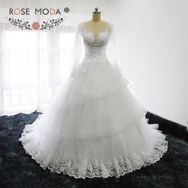 Rose Moda Sheer O Neck Long Sleeves Prinzessin Hochzeit Ballkleid ...