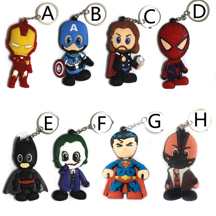 Comics character Keychains Anime Silicone PVC Pendants keychain Super hero Action Figure Key Ring For Gift ZKM8S