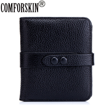 2017 Hot Sales Vertical Style Magnetic Buckle Female Purse 100% Premium Cow Leather Classical Litchi Pattern  Women Wallets