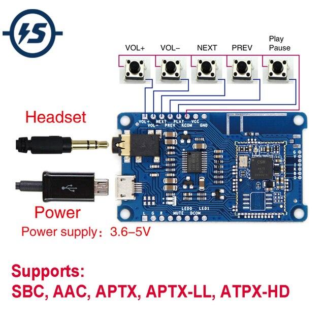 אלחוטי CSR8675 Lossless Bluetooth V5.0 מגבר מפענח מודול PCM5102A מקלט לוח SBC AAC APTX APTX LL ATPX HD I2S
