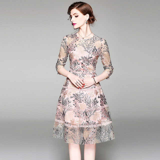 High quality woman embroidered dress fashion mesh lady a-line party dress vintage woman mid dress