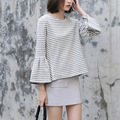 Yichaoyiliang Gray-white Horizontal Striped T-shirt Spring O-neck Long Sleeve Tops Tees Loose Casual Shirt Flared Sleeves