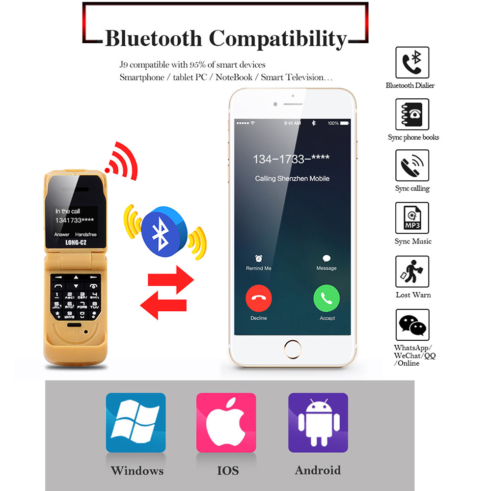 Image 4 - small mini clamshell Flip mobile phone button Bluetooth Dialer Magic Voice Handsfree Earphone Single sim LONG CZ J9 GSM-in Cellphones from Cellphones & Telecommunications