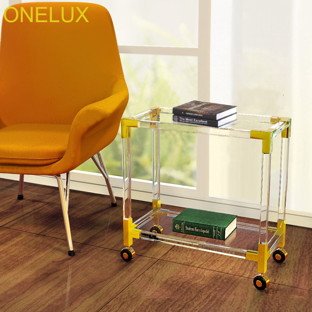 Rolling Acrylic Occasional Side Table With Metal,Lucite Small Bookshelf On Wheels Flat Packed-in