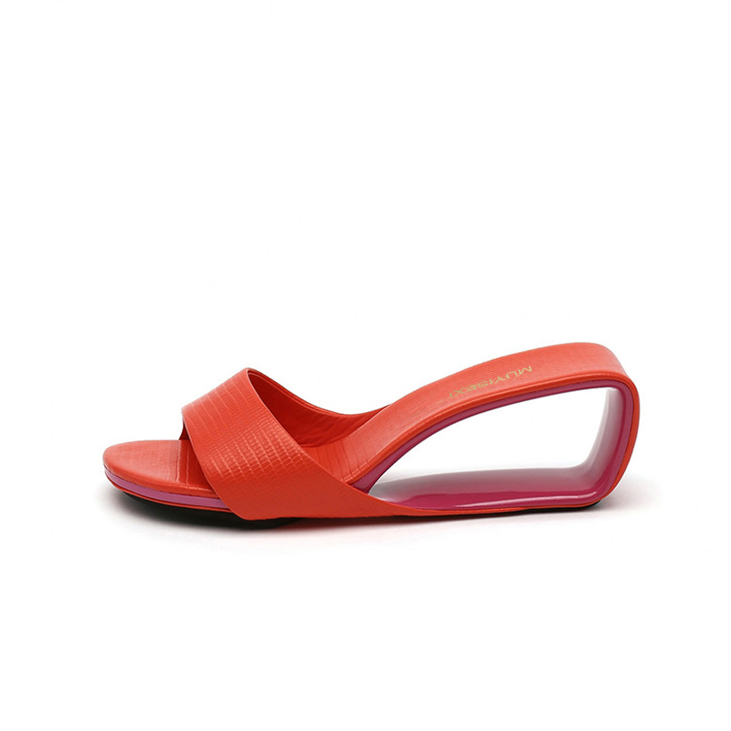 슬리퍼 여름 여성 신발 디자이너 브랜드 샌들 fretwork 웨지 힐 여성 샌들 6 cm 하이힐 슬리퍼 hl148 muyisexi-에서슬리퍼부터 신발 의  그룹 2