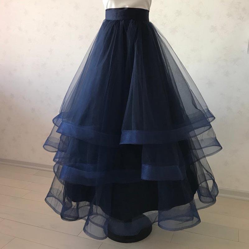Organza Navy Blue Ruffles Long Women Skirts 2019 Real Image Ruched Bridal Skirt Zipper Custom Made Faldas Mujer Moda