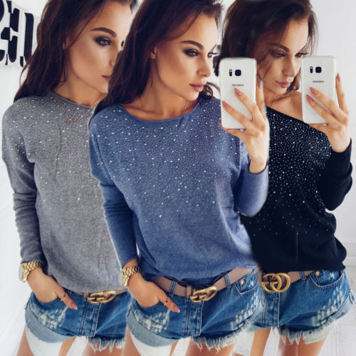 Off Shoulder 2017 Women Hot drilling Long Sleeve Autumn Slim Knitted Sweater Tops Pullover Outwear Bling Knitwear